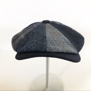 Wigens Wool Plaid Blue Newsboy Cap